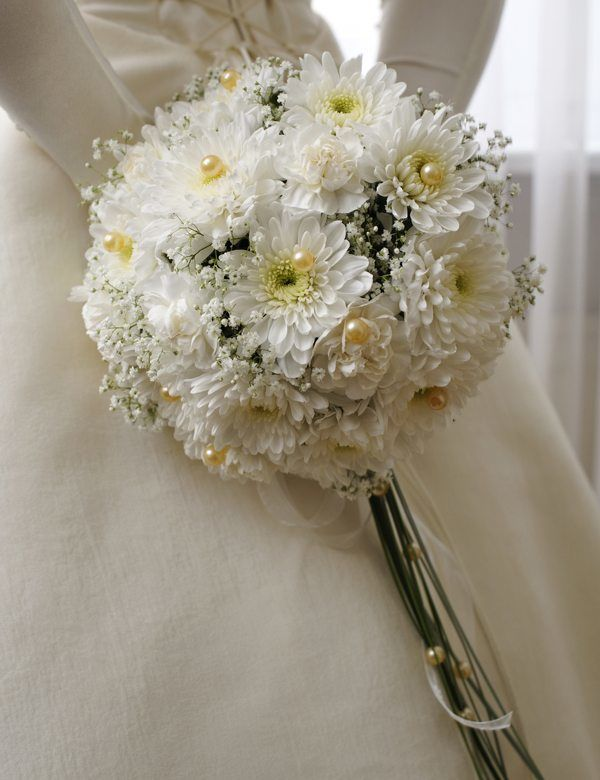 Букет невесты из хризантем своими руками