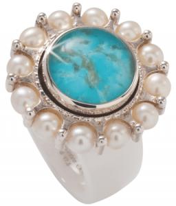 Weißer Keramik-Ring mit Bergkristall auf Türkis von Charlotte Ehinger-Schwarz 1876
