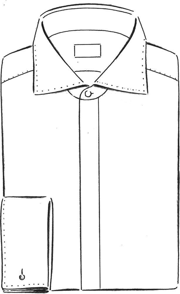 Haifischkragenhemd mit Doppelmanschette und verdeckter Knopfleiste