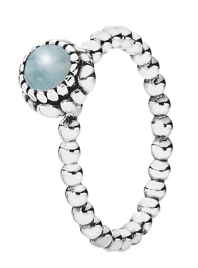 Ring in Sterling-Silber mit Aquamarin, von Pandora