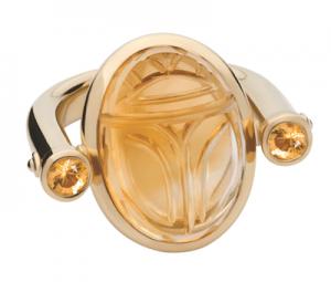 Ring Skarabäus in 18 K Gelbgold mit Citrin und Saphiren von Colleen B. Rosenblat
