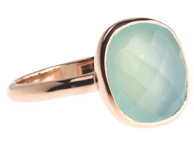 Ring aus rosé-vergoldetem Sterlingsilber mit Chalzedon von New One