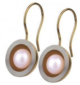 Ohrringe von Ernstes Design: Süßwasserperle in vergoldetem Kelch aus Edelstahl
