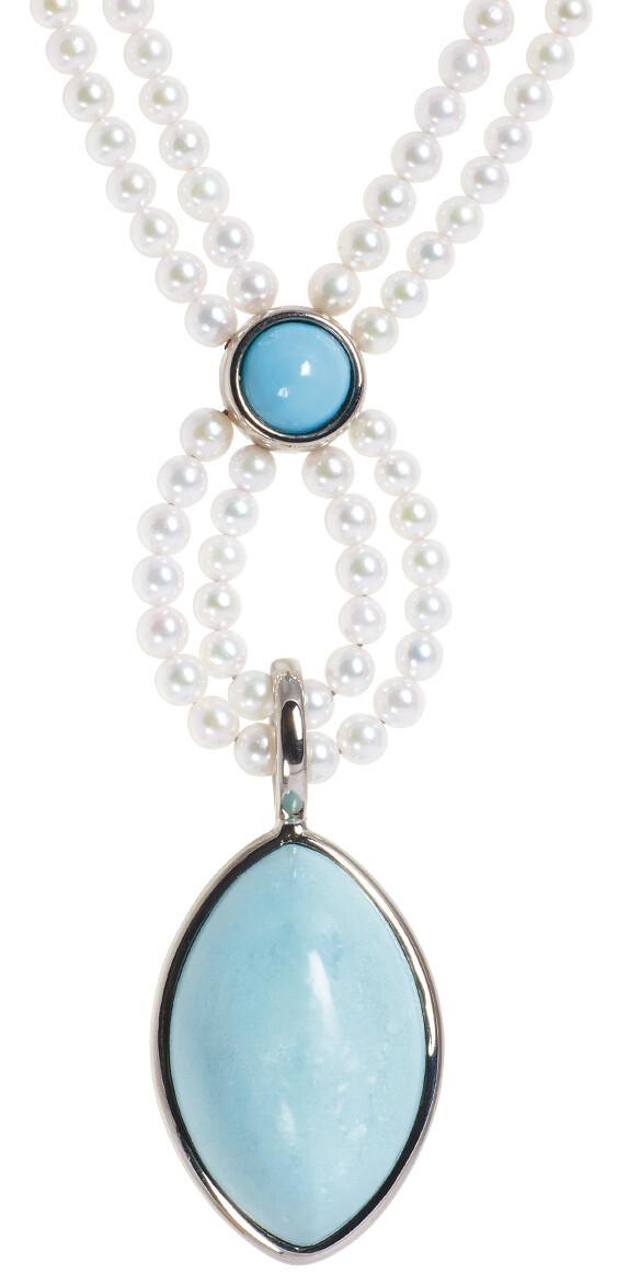 Collier mit türkisen Diamanten und Perlen von Wilm