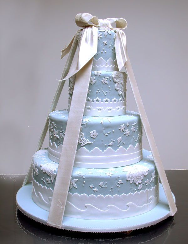 blaue Hochzeitstorte