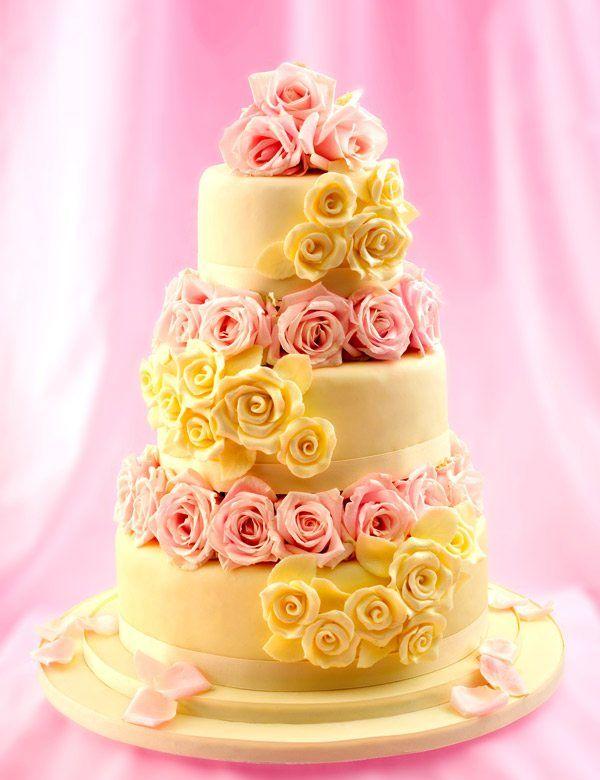 edle Hochzeitstorte in Gelb