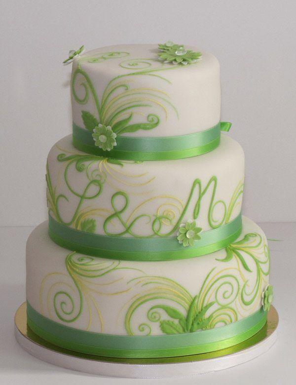 Hochzeitstorte in Grün und Weiß