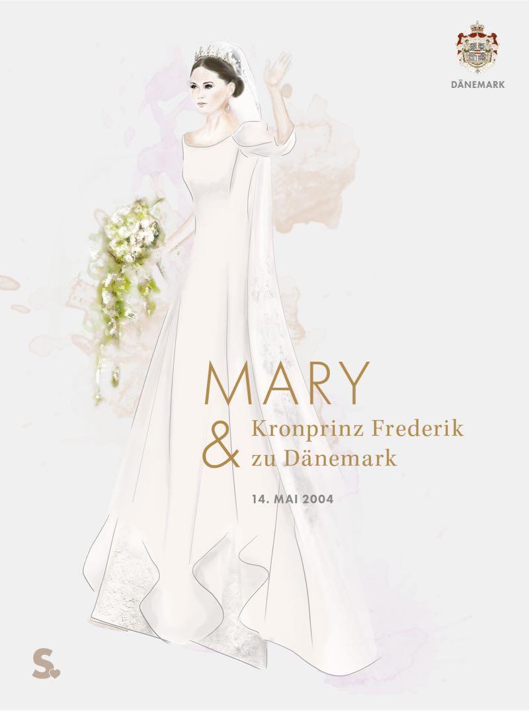 Mary von Dänemark in ihrem Brautkleid