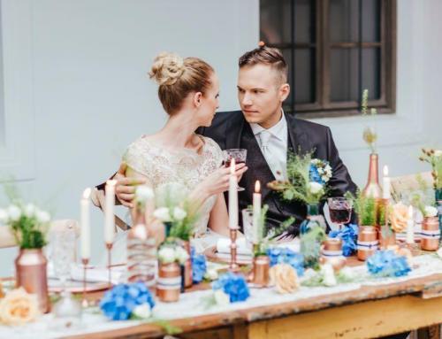 Handgemachte Hochzeitsinspirationen in Blau und Kupfer