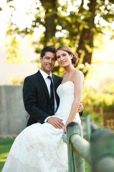Braut klassisch in einem A-Linie Brautkleid