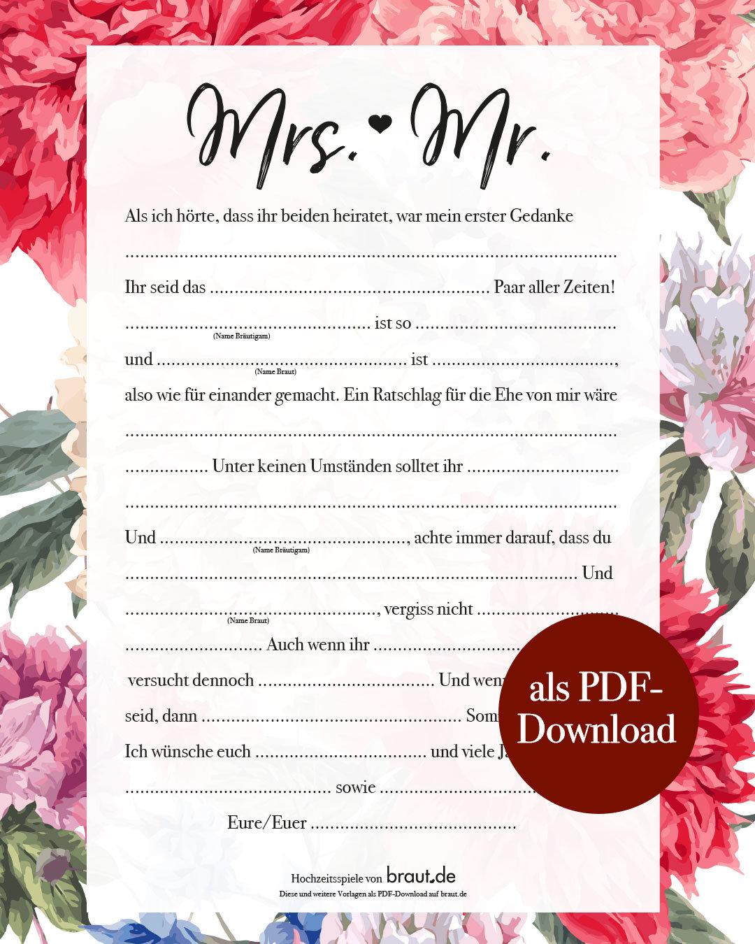Witzige Hochzeitsspiele – Lückentext – Mrs. & Mr.