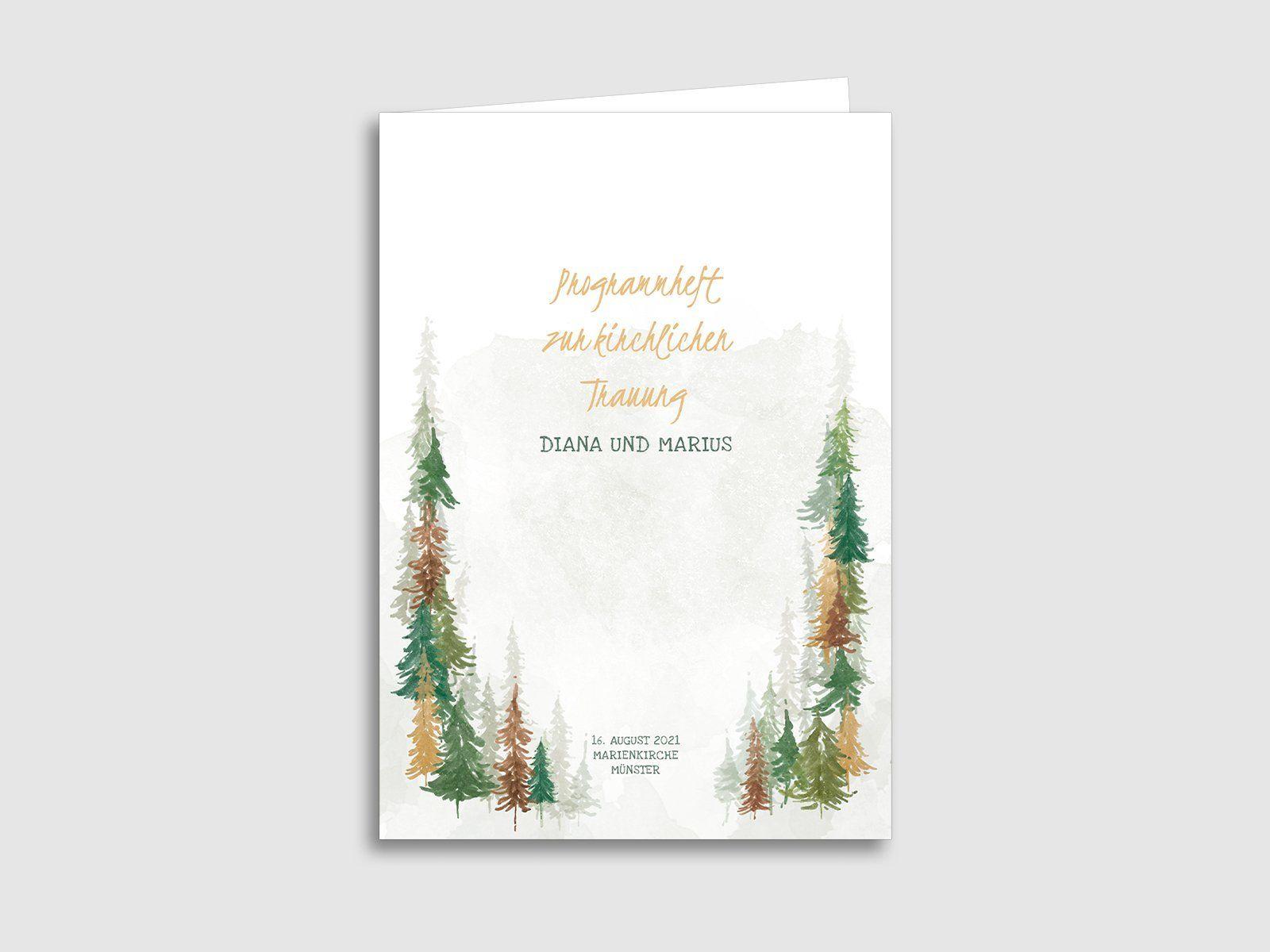 Kirchenheft von karten.braut.de Motiv Herbstwald