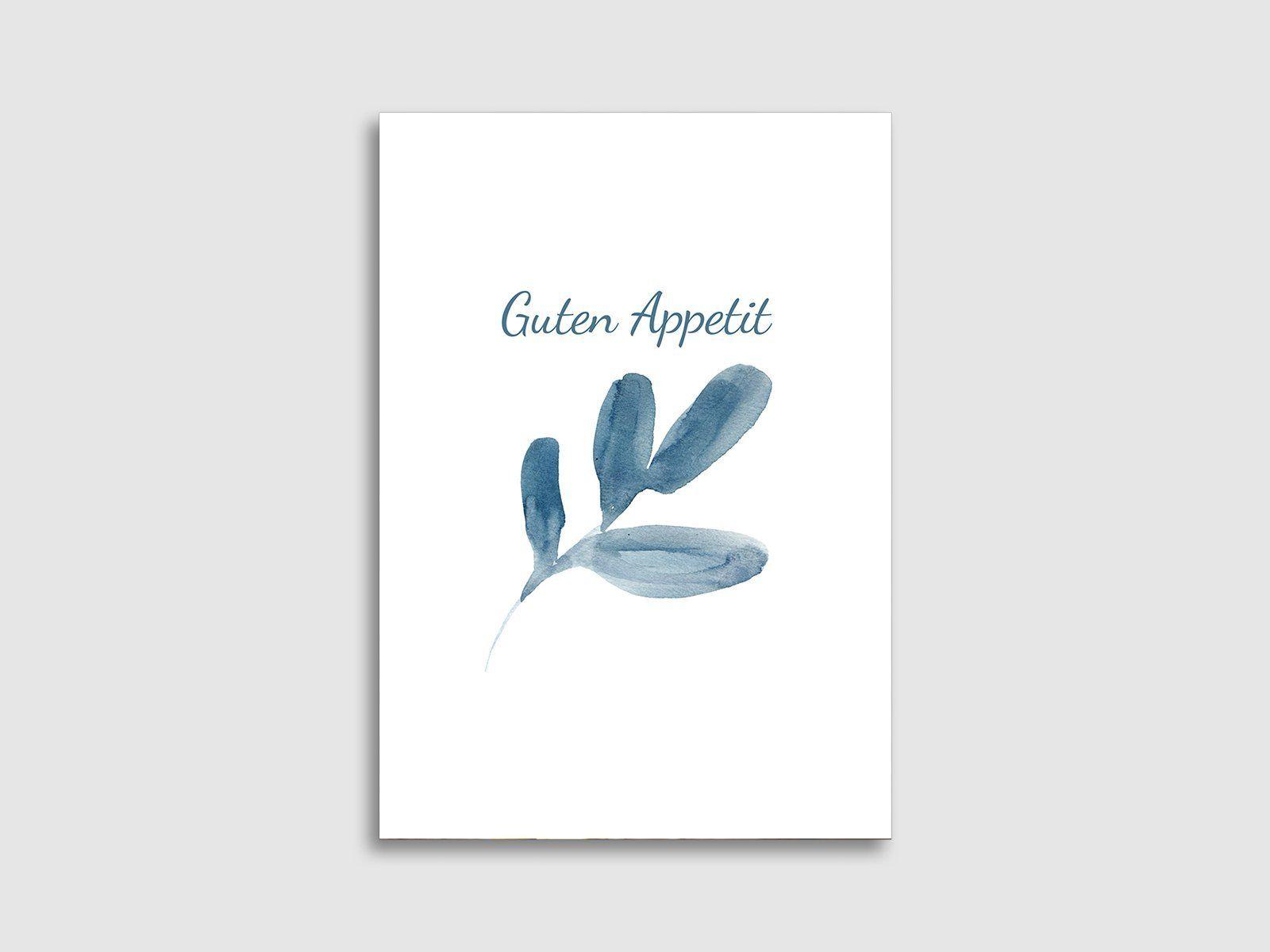 Menükarten von karten.braut.de Motiv blaue Blätter im Aquarell-Stil