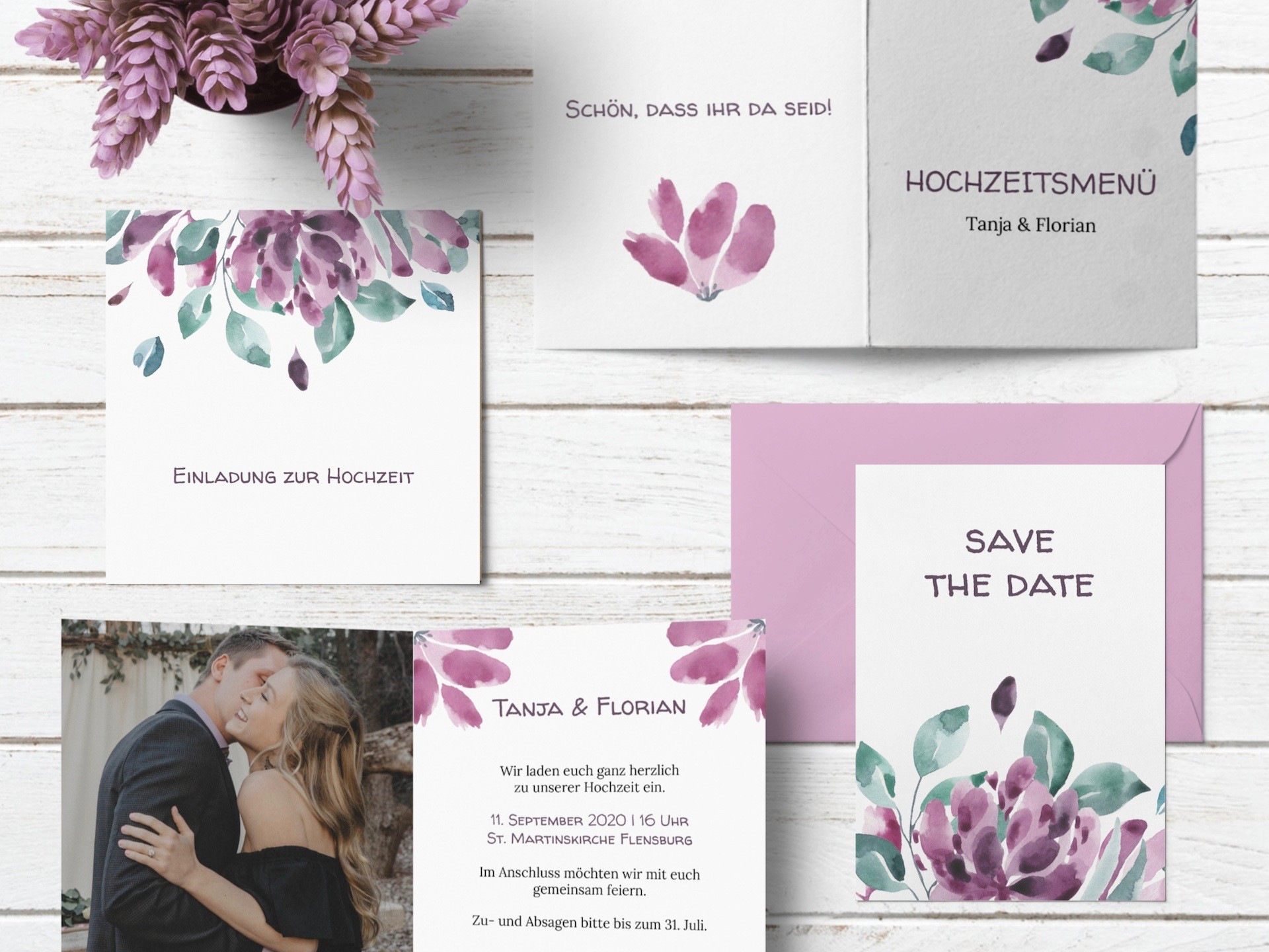 Hochzeitspapeterie von karten.braut.de Motiv Blumengarten in violett