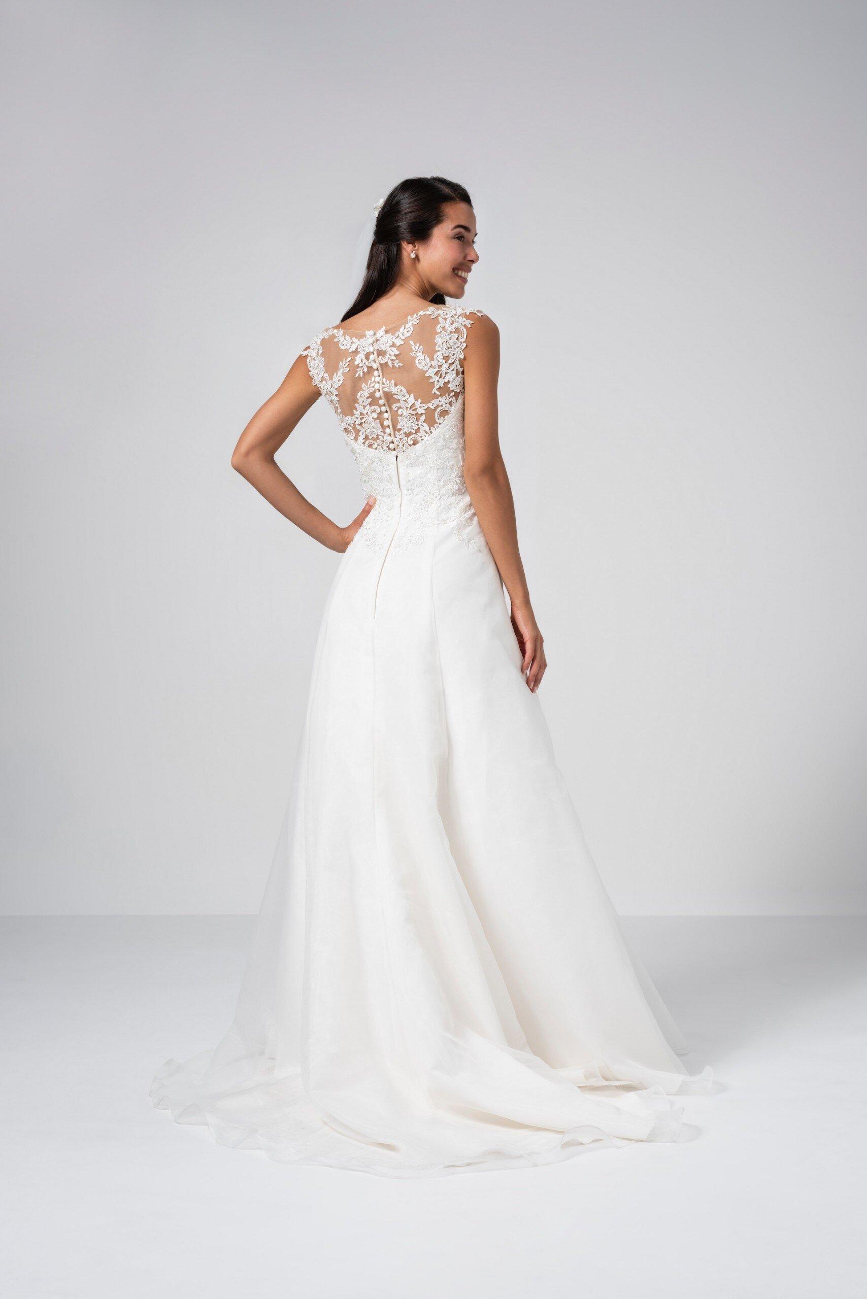 Brautkleid in A-Linie mit Illusion-Ausschnitt, bestickter Spitze und Drapierungen von Weise Be The One, Modell 337722