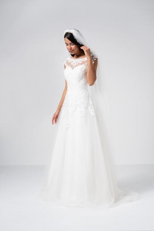 A-Linien-Brautkleid mit Spitzentop, Illusion-Ausschnitt und Cap-Ärmeln von Weise Be The One, Modell 337612