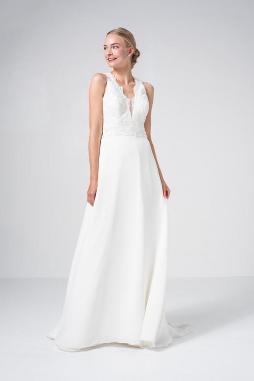 Brautkleid in A-Linie mit ärmellosem Spitzentop, tiefem V-Ausschnitt und Rücken-Cut-out von Weise Be True, Modell 337262