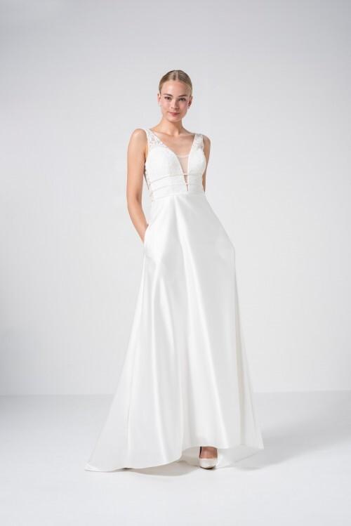 Hochzeitskleid in A-Linie mit Spitzentop, tiefem V-Ausschnitt und raffiniertem Rücken von Weise Be True, Modell 337342