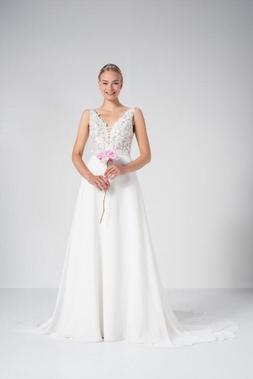 Brautkleid in A-Linie mit transparentem Spitzentop, V-Ausschnitt und mittellanger Schleppe von Weise Be True, Modell 337782