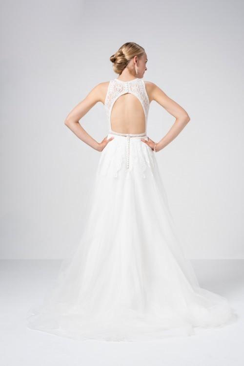 Bauchfreies Brautkleid im Boho-Look, mit Tüllrock, Spitze und Neckholder-Ausschnitt von Weise Be True, Modell 337152