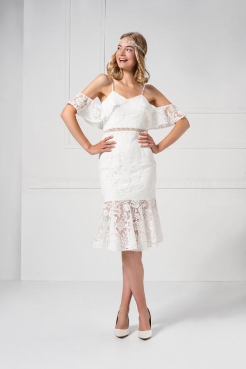 Brautkleid im Charleston-Stil in knieumspielnder Länge aus Spitze mit Off-Shoulder-Ärmeln von Weise Essentials, Modell 338236