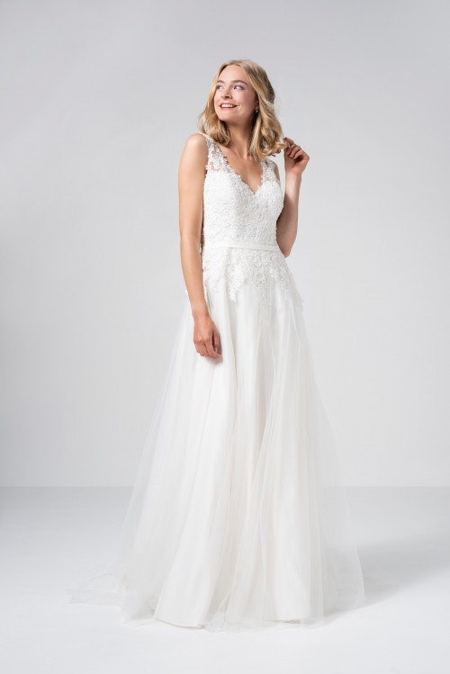 Hochzeitskleid im Prinzessschnitt mit Tüllrock, Spitzentop und Illusion-V-Ausschnitt von Weise Be The One, Modell 337582