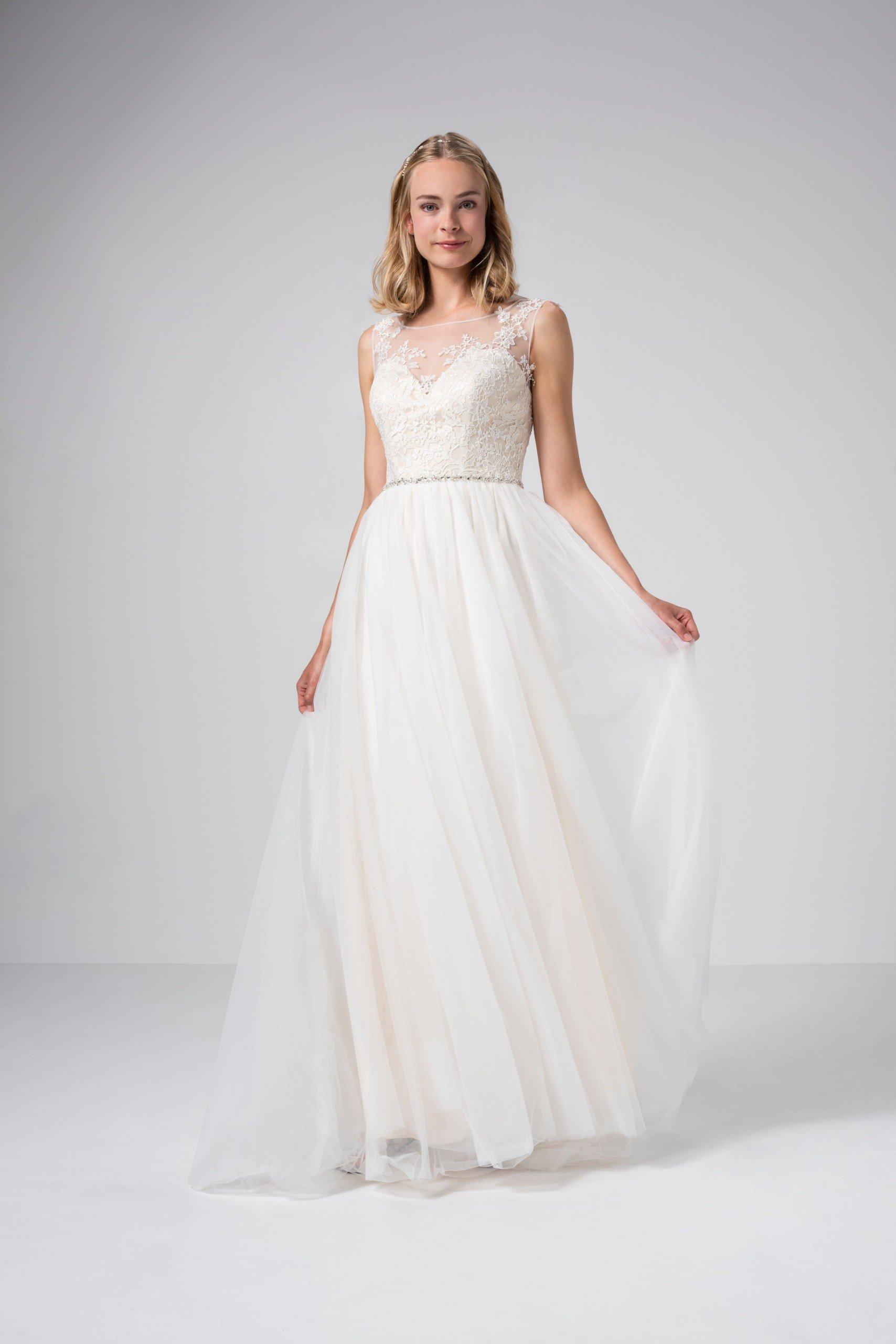 Prinzess-Brautkleid mit Tüllrock, Illusion-Ausschnitt und Strassgürtel von Weise Be The One, Modell 337542