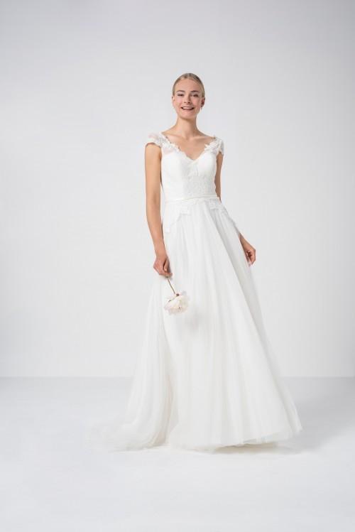 Brautkleid im Prinzessstil mit Tüllrock, Spitzentop und Cap-Ärmeln von Weise Be True, Modell 337602