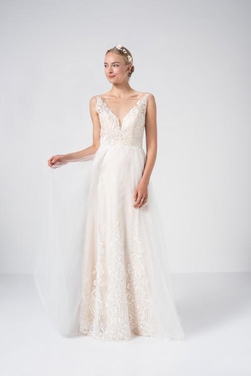 Puderfarbenes Brautkleid in A-Linie mit 3D-Spitze und Plunge-Ausschnitt von Weise Be True, Modell 337952