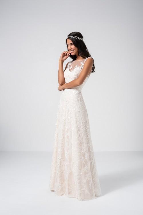 Blassrosafarbenes Brautkleid in A-Linie mit Spitze und Illusion-Ausschnitt von Weise Be The One, Modell 337190