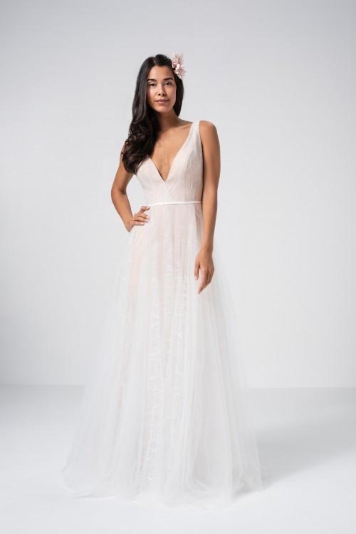 Roséfarbenes Brautkleid aus Glitzertüll in A-Linie mit tiefem V-Ausschnitt von Weise Be The One, Modell 337182