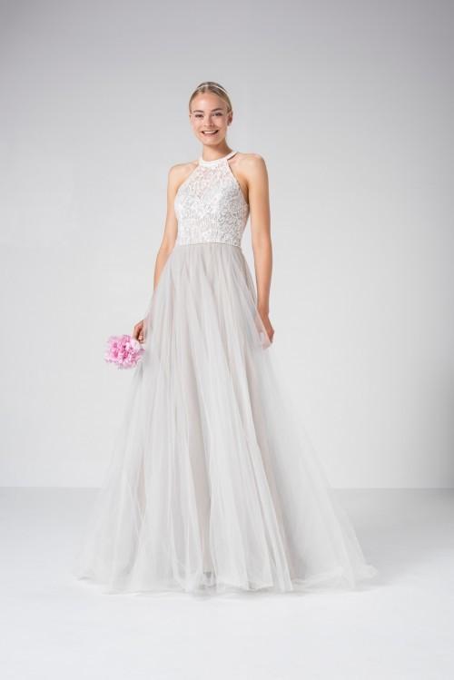 Prinzess-Brautkleid mit silbernem Tüllrock und Spitzentop mit Neckholder von Weise Be True, Modell 337122