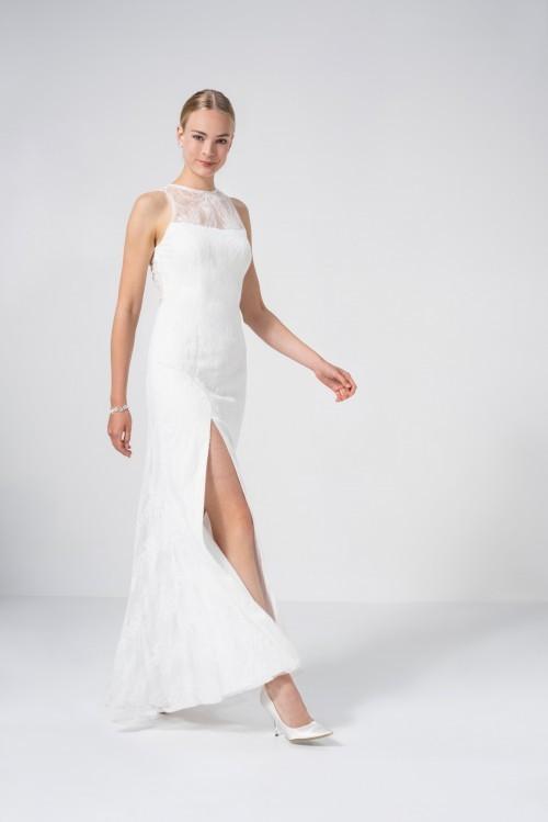 Figurbetontes Hochzeitskleid aus Spitze mit hohem Beinschlitz und Illusion-Ausschnitt von Weise Be True, Modell 338210