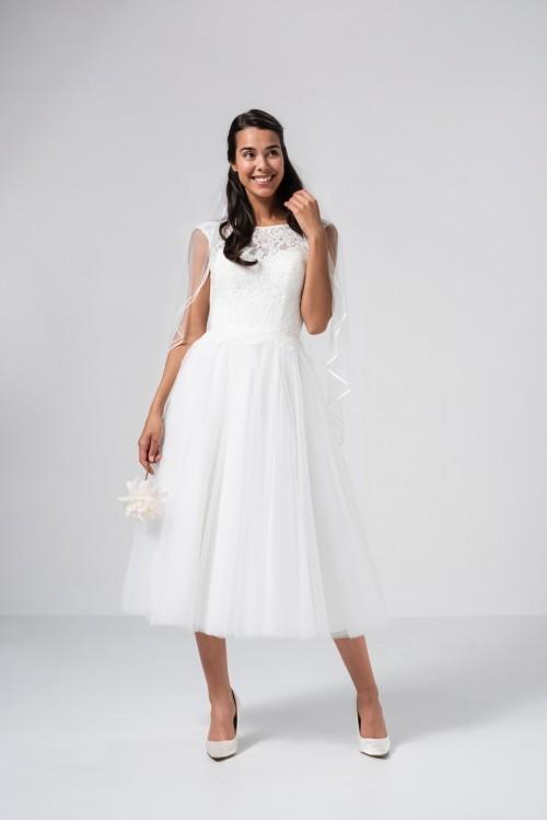 Wadenlanges Hochzeitskleid im Prinzessschnitt mit Tüllrock, Spitzentop und Illusion-Ausschnitt von Weise Be The One, Modell 338006