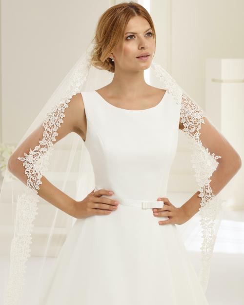 Ärmelloses A-Linien-Brautkleid im Clean Chic mit Rundhalsausschnitt von Bianco Evento, Modell Imperia