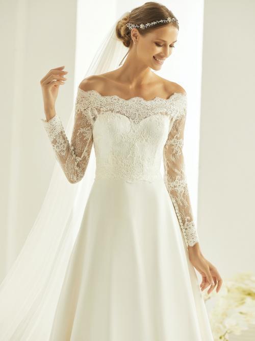 Schulterfreies Brautkleid in A-Linie mit Carmen-Ausschnitt von Bianco Evento, Modell Heidi