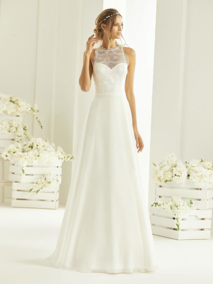 Hochzeitskleid in A-Linie mit Spitzentop und Illusion-Neckholder-Ausschnitt von Bianco Evento, Modell Nala