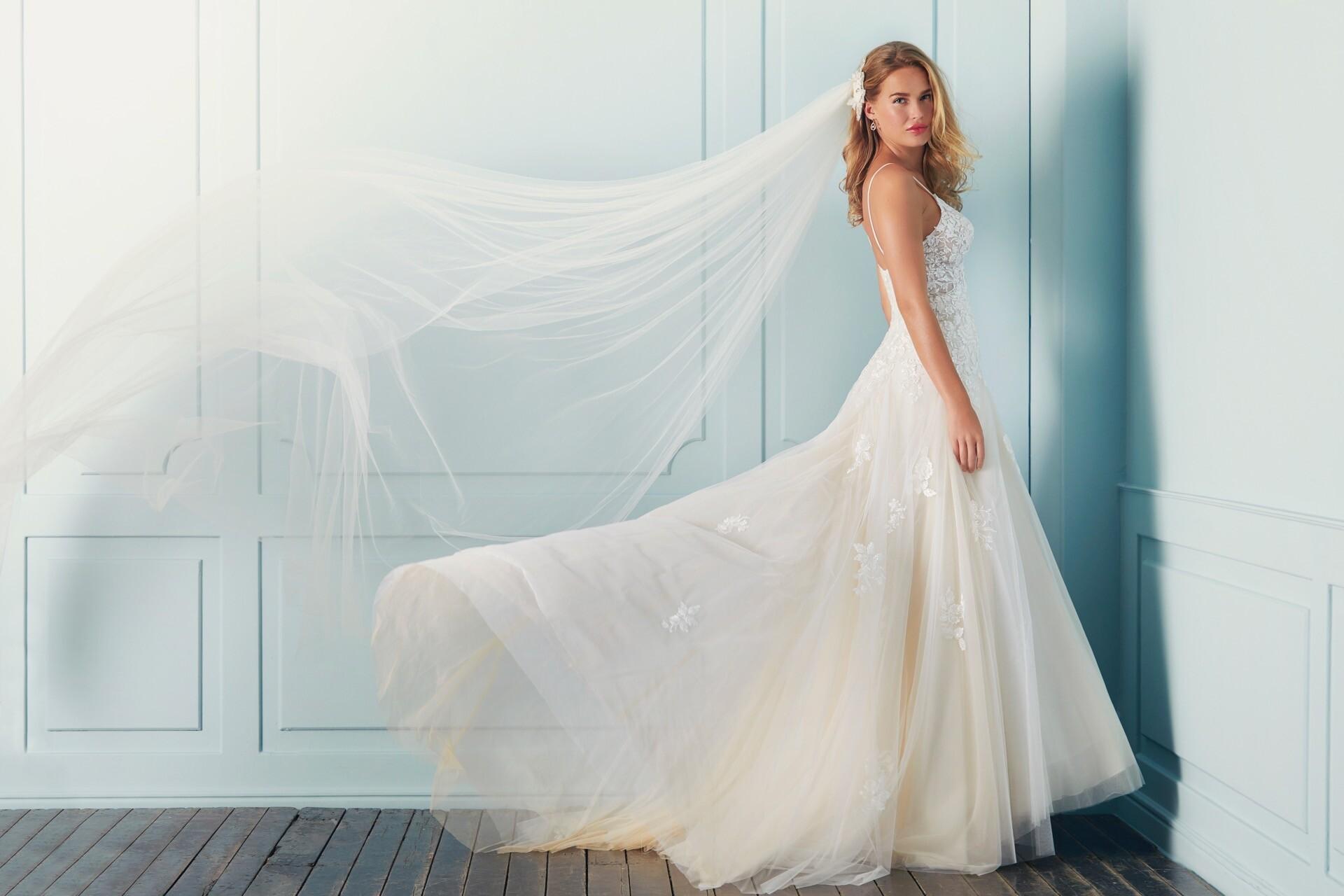 Luftig-leichtes Prinzess-Brautkleid in Nude mit 3D-Spitze, Transparenzen und Spaghettiträgern von Lilly, Modell 4103