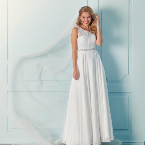 Sommerliches Boho-Brautkleid in A-Linie mit Spitzentop, Illusion-Rundhalsausschnitt und Cut-outs von Lilly, Modell 4110