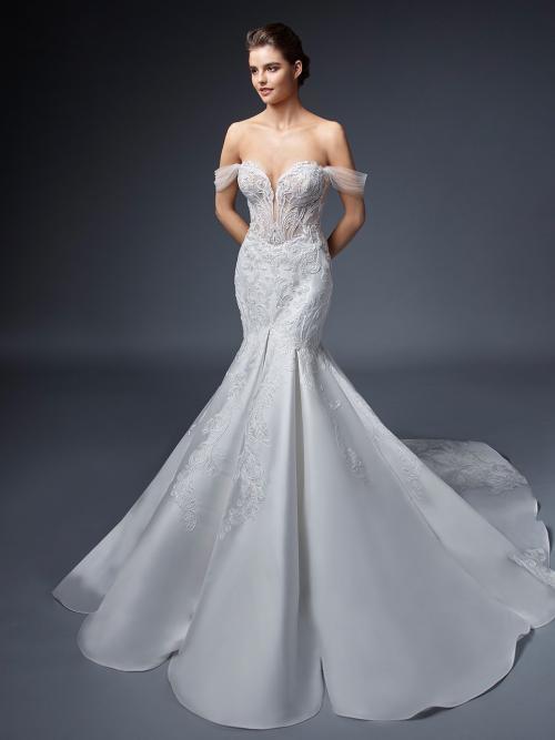 Off-Shoulder-Hochzeitskleid mit transparentem Top, Plunge-Ausschnitt und Schleppe von Elysée, Modell Satine