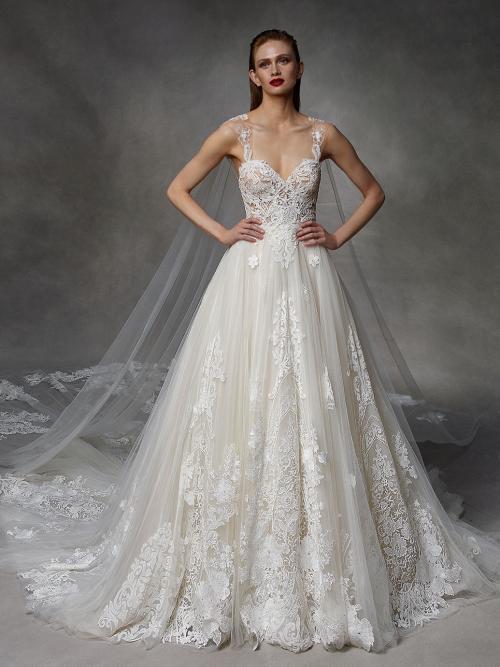 Brautkleid im Prinzessstil mit transparenter Spitzenkorsage, Cape und Schleppe von Badgley Mischka, Modell Debbie