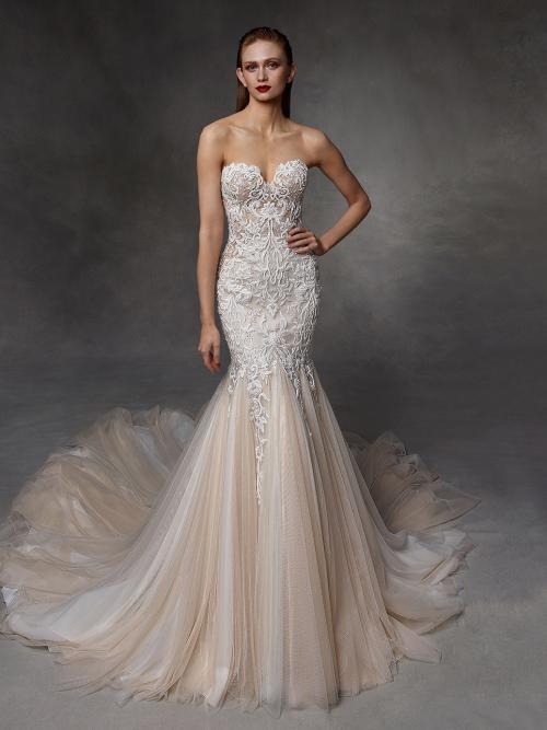 Roséfarbenes Fit-and-Flare-Hochzeitskleid mit weißer Kontrastspitze und schulterfreiem Sweetheart-Ausschnitt von Badgley Mischka, Modell Delilah