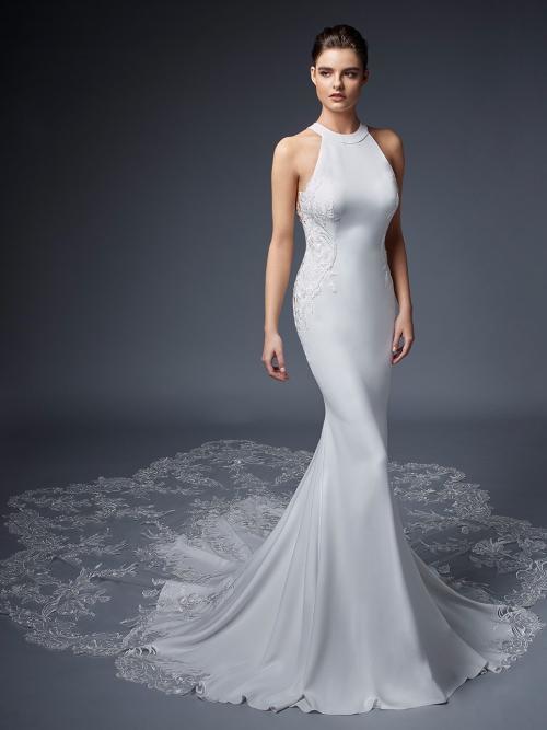 Mermaid-Brautkleid mit Neckholder-Ausschnitt, raffiniertem Rücken und Schleppe von Elysée, Modell Vionnet