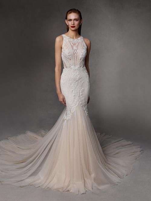 Fit-and-Flare-Brautkleid mit Neckholder-Ausschnitt und Schleppe von Badgley Mischka, Modell Donovan