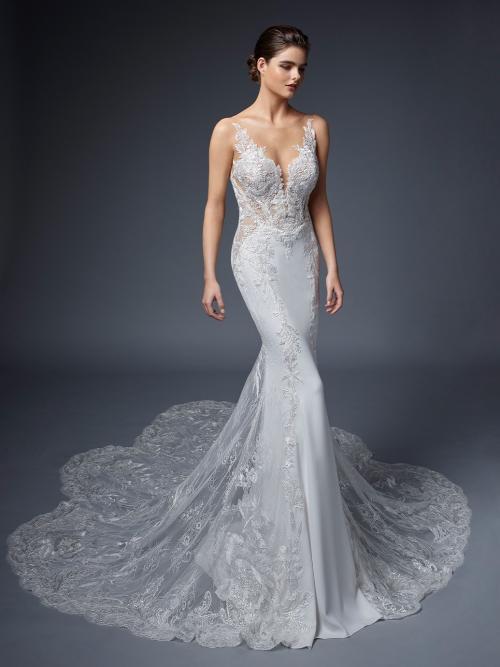 Brautkleid in Weiß mit Spitze, transparentem Top, tiefem Rückenausschnitt und Schleppe von Elysée, Modell Sandrine