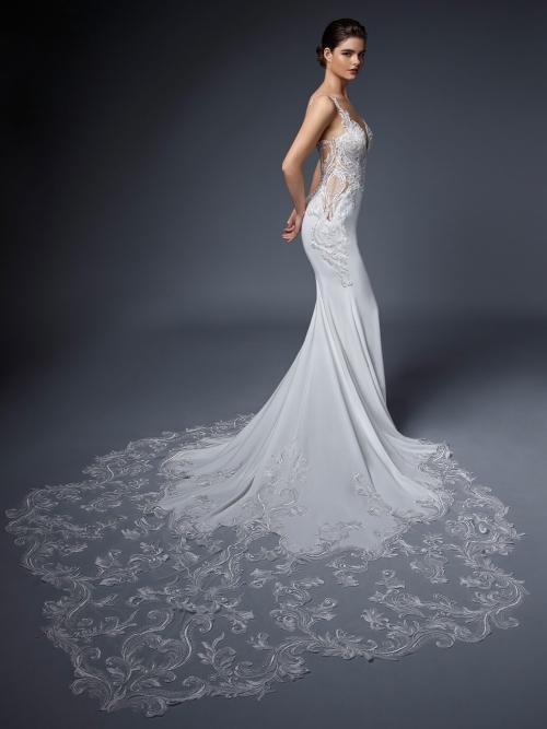 Weißes Fit-and-Flare-Hochzeitskleid mit transparenten, mit Spitze unterlegten Cut-outs von Elysée, Modell Katriane