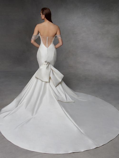 Weißes Off-Shoulder-Brautkleid mit Sweetheart-Ausschnitt, Schleife und Schmuckträgern von Badgley Mischka, Modell Devina