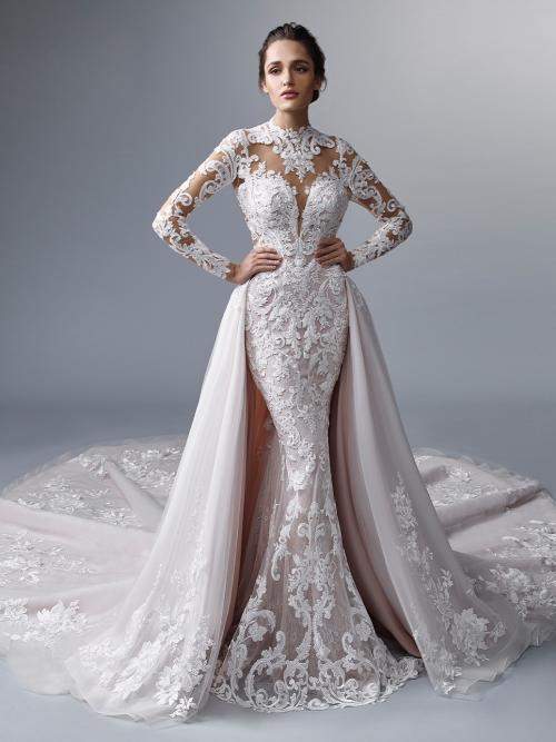 Wandelbares Fit-and-Flare-Hochzeitskleid mit Allover-Spitze, Tattoo-Effekt, langen Spitzenärmeln und Schleppe von Elysée Atelier, Modell Kohinoor