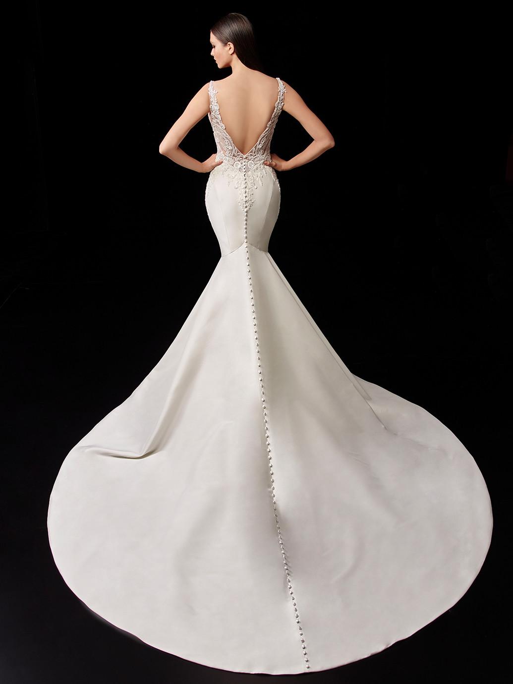 Satin-Brautkleid im Fit-and-Flare-Schnitt mit transparentem Spitzentop von Enzoani, Modell Pascale