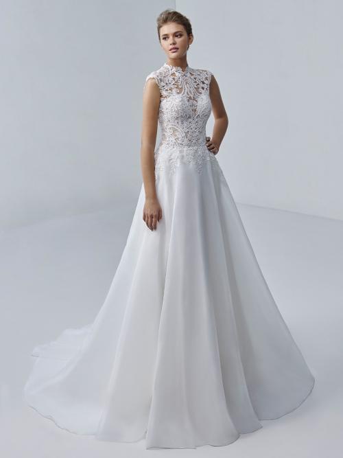 Ärmelloses Prinzesshochzeitskleid in Weiß mit transparentem Spitzentop von Etoile, Modell Marjorie